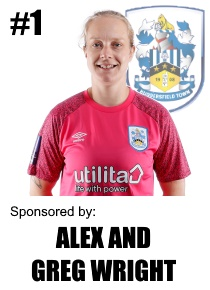 HTWFC's Number 1 for the 21/22 Season: Laura Carter (goalkeeper) sponsored by Alex and Greg Wright