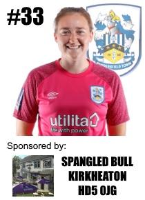 HTWFC's Number 33 for the 21/22 Season: Bethan Davies (goalkeeper) sponsored by Spangled Bull, Kirkheaton, HD5 0JG
