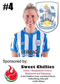 HTWFC's Number 4 for the 21/22 Season: Kate Mallin sponsored by Sweet Chillies Indian & Bangladeshi Cuisine at the Clothiers Arms, Netherthong