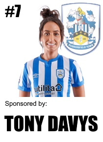 HTWFC's Number 7 for the 21/22 Season: Katie Stanley sponsored by Tony Davys