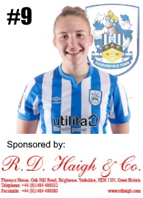 HTWFC's Number 9 for the 21/22 Season: Ria Montgomery sponsored by RD Haigh & Co