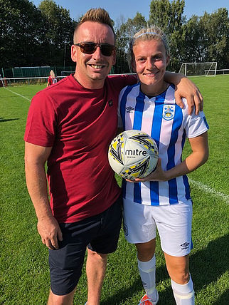 Match ball sponsor for the game was Nigel Wimpenny of Yorkshire Weed Control and he's pictured with Sarah Danby.