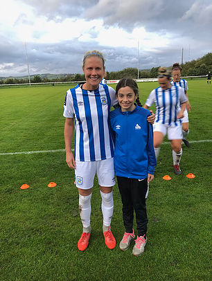 Mascot for the evening was Charlotte Haigh, pictured with captain Kate Mallin