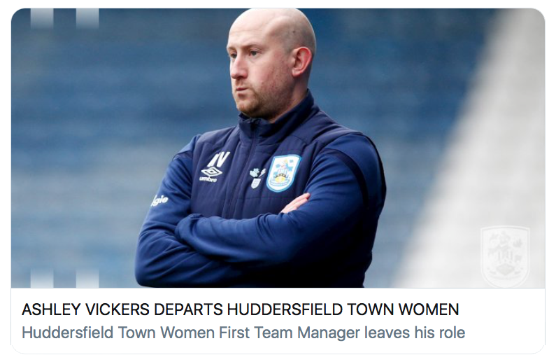 Ashley Vickers departs Huddersfield Town Women