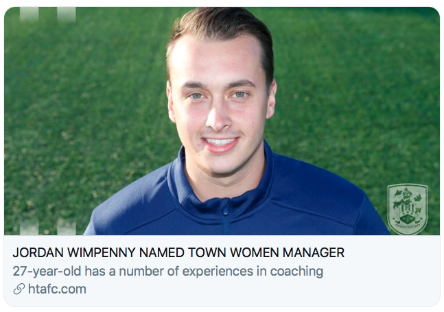 JORDAN WIMPENNY NAMED TOWN WOMEN MANAGER