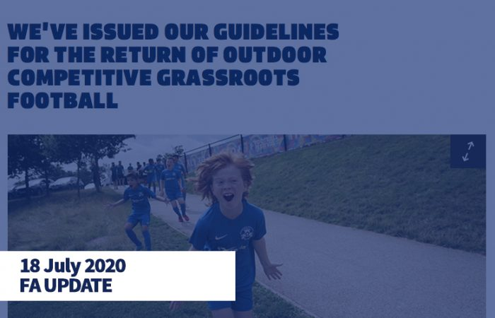 FA UPDATE - Return of Outdoor Grassroots Football