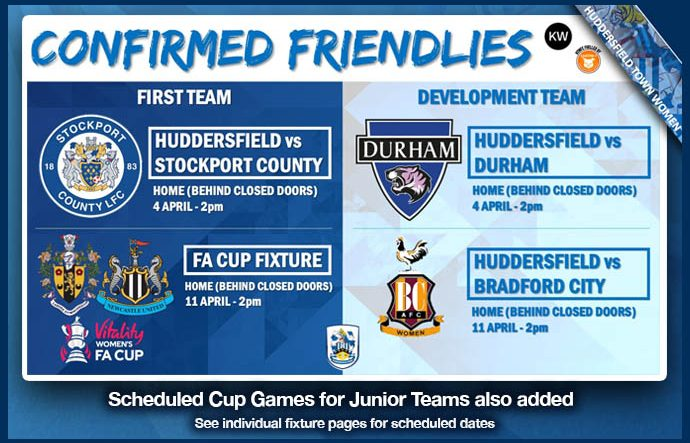 Confirmed Friendlies April 2021